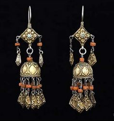 Kazakhstan | Traditional silver, gilt, turquoise and coral earrings | Bukhara, ca. 1900