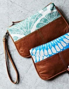 leather purse + cotton clutch!!! really like the contrast of the two materials