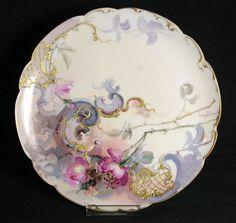 Franz A Bischoff Signed Roses Scrolls Limoges Porcelain Plate | eBay