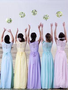Lace and Chiffon Dress; Color: Pastel Lilac; Sizes Available: 2-26W, Custom Size; Fabric: Lace, Chiffon