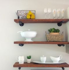 Lavender Sundays: Restoration Hardware Inspired DIY Shelves Douglas fir boards from Home Depot, sanded and stained Diy Kitchen Shelves, Diy Kitchen Decor, Rustic Shelves, Rustic Kitchen, Kitchen Design, Kitchen Tips, Steel Furniture, Diy Furniture, Kitchen Furniture