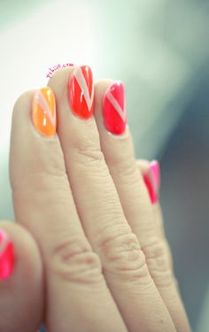 orange red and pink! what a good combination ! #nail art