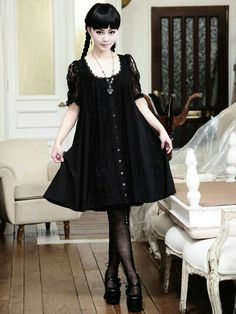 Cute Black Gothic Lolita Dress / Fashion Photography / Gothique Girl / Cosplay // ♥ More at: https://www.pinterest.com/lDarkWonderland/