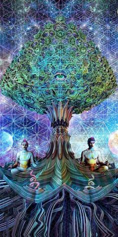 Tree of Life -Mental Alchemy -Alex Fitch ~ Professional psychedelic/visionary artist / musician / spiritual alchemist here to show the beauty of our outer and inner universes Psychedelic Art, Digital Art Illustration, Balance Art, Psy Art, Mystique, Visionary Art, Sacred Art, Sacred Geometry Art, Geometry Tattoo