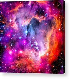 Space Image purple, pink and orange Acrylic Print for sale.  Small Magellanic Cloud (SMC) is a small galaxy about 200,000 light-years away. It is one of the Milky Way's closest galactic neighbors. Credit:  NASA/CXC/JPL-Caltech/STScI Edit: M. Hauser