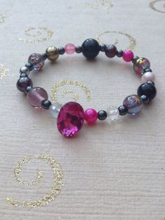 Pink purple black grey clear glass beaded mix and match glass