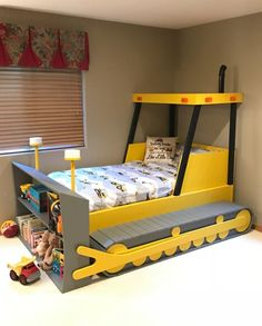 Twin Size Bulldozer Bed PLANS (pdf format), Create a Constru.- Twin Size Bulldozer Bed PLANS (pdf format), Create a Construction Themed Bedroom for your Child, Perfect for the DIY Woodworking Enthusiast Twin Size Bulldozer Bed PLANS pdf format Create a Bedroom Themes, Kids Bedroom, Bedroom Decor, Bedroom Furniture, Furniture Showroom, Nursery Decor, Bunk Bed With Slide, Toddler Bed With Slide, Bed Slide