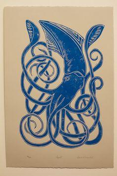 青イカの手彫り、手印刷リノリウム
