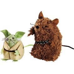 STAR WARS Yoda & Chewbacca Mice Cat Toys - This pack of two character mice inspired by STAR WARS includes miniature versions of Chewbacca and Yoda. Have your cat interact with the two of them for an awesome time! - http://www.petco.com/shop/en/petcostore/star-wars-yoda-and-chewbacca-mice-cat-toys