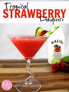 Tropical Strawberry Daiquiri!  Fresh and frosty!