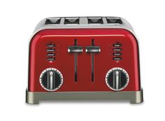 Cuisinart Red Toaster at Lowe's. The Cuisinart Metal Classic Toaster in Metallic Red has a smooth brushed stainless housing with polished chrome and black accents. Toaster Ovens, Stainless Steel Toaster, Brushed Stainless Steel, Thing 1, Steel House, Style
