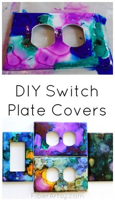 Decorate your walls with colorful DIY switch plates painted with alcohol inks. You can create a little colorful piece of art for every room in your home. A fun diy home project that anybody can do. Super easy step by step alcohol ink tutorial by Diy Craft Projects, Easy Diy Crafts, Diy Crafts For Kids, Craft Ideas, Diy Ideas, Kids Diy, Fun Crafts, Decorating Ideas, Mosaic Projects