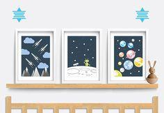 Set of 3 Baby Nursery prints. Baby nursery decor. Nursery wall art. Space themed nursery. Baby nursery print. Baby boy gift. Baby girl gift.