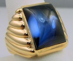 MENS RING ANTIQUE VINTAGE COLLECTIBLE DECO ESTATE SAPPHIRE 10K YELLOW GOLD: