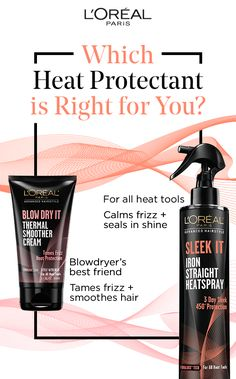Which heat protectant is right for you? Blow Dry It Thermal Smoother Cream — your blowdryer's best friend; tames frizz and smoothes hair. Sleek It Iron Straight Heatspray — for all heat tools; calms frizz and seals in shine. Beauty Skin, Health And Beauty, Hair Beauty, Natural Hair Care, Natural Hair Styles, Work Hairstyles, Hair Remedies, Bleached Hair, Relaxed Hair
