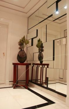 Mirror on the wall. Mirror Decor Living Room, Home Decor Mirrors, Entryway Decor, Ceiling Design, Wall Design, House Design, Interior Exterior, Modern Interior, Interior Design