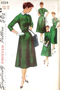 """1950s Misses Day Dress With Scarf and Detachable Collar, Vintage Sewing Pattern, Simplicity 4894 Bust 34"""". $10.00, via Etsy."""