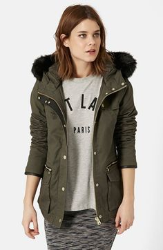 Topshop 'Walter' Faux Fur Padded Parka