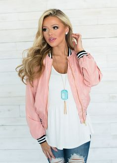 Cute Bomber Jacket With Stripe Cuff Detail! Boutique, Online Boutique, Women's Boutique, Modern Vintage Boutique, Jacket, Pink Jacket, Bomber Jacket, Long Sleeve Jacket, Cute, Fashion Ladies Boutique, Boutique Clothing, Hooded Jacket, Bomber Jacket, Modern Vintage Boutique, Girl Celebrities, Girl Inspiration, Cute Fall Outfits, Senior Girls