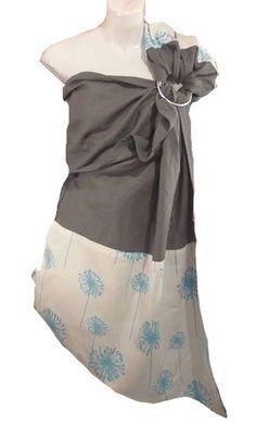 Ring sling. Fait au Québec à la main avec amour.  ✄Tissu charcoal : 55% lin, 45% viscose ✄Tissu pissenlits bleus : 100% coton Lin vert avec pointe