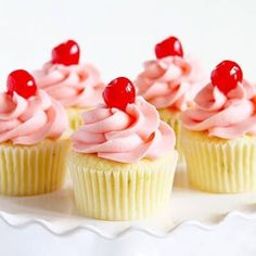 Sweet and tart lime cupcakes paired with a delicate cherry frosting! Cherry Limeade Cupcakes, Strawberry Shortcake Cupcake, Lime Cupcakes, Margarita Cupcakes, Sweet Cupcakes, Velvet Cupcakes, Flower Cupcakes, Velvet Cake, Cherry Desserts