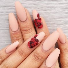 Ballerina nails – they are an extremely edgy nail shape, rocked by all the extraordinary celebrities. When it comes to trendiest shades to color your ballerina nails with – we know all about them and we are ready to share these secrets! Cute Acrylic Nails, Acrylic Nail Designs, Edgy Nails, Rose Nails, Rose Nail Art, Ballerina Nails, French Nails, Nails Inspiration, Beauty Nails
