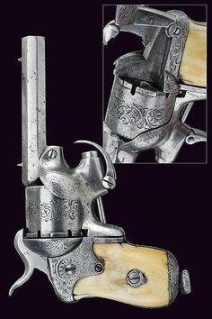 A rare Chamelot-Delvigne pin-fire revolver, Belgium, 3rd quarter 19th century.