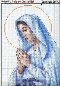 Cross Stitch Angels, Cross Stitch Needles, Cross Stitch Fabric, Cross Stitching, Cross Stitch Embroidery, Embroidery Patterns, Cross Stitch Patterns, Madonna, Religious Cross
