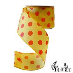 "2.5"" Yellow with Orange Polka Dot Satin Wire Edge Ribbon #trendytree #halloween #polkadots"