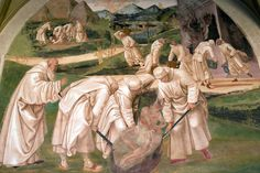 Luca Signorelli - Life of St Benedict: Benedict Drives the Devil out of a Stone