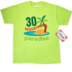 30th Anniversary T-Shirt - Safety Green has colorful tropical island with 30 Years of paradise happy married couple quote.  Everyone loves our Custom T-Shirts! Wardrobe essential for looking good, 24/7. 5.0 oz., pre-shrunk 100% cotton. Seamless 1x1 rib collar. Shoulder-to-shoulder taping. Double-needle stitched sleeves, bottom hem and front neck. Note: greys are a cotton/polyester blend.
