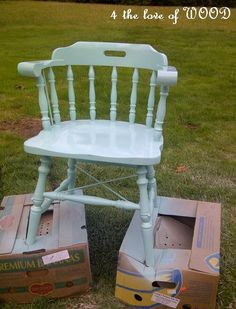 example of painting a wooden captains chair - 4 the love of wood: SPRAY PAINTING A WOODEN CHAIR - turquoise wood chair