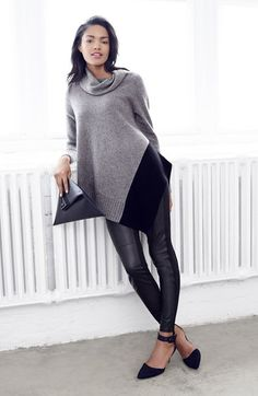 Eileen Fisher Asymmetrical Poncho & Leather Front Leggings  available at #Nordstrom