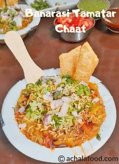 Banarasi Tamatar Chaat is a mouthwatering chaat recipe in hindi & english with step to step directions with photos & recipe video,tips &variations Pasta Recipes Indian, Vegetarian Pasta Recipes, Veggie Recipes, Snacks Recipes, Veggie Food, Tamarind Chutney, Green Chutney, Onion Recipes, Spicy Recipes