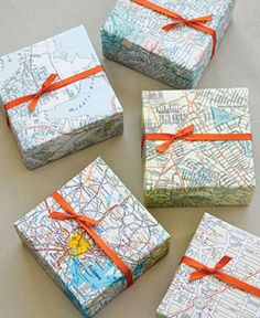 Maps as wrapping paper.  This is a Great idea and if I see free maps at rest areas any more when I travel I will grab some just for this!  This would be so fun to use for a bon voyage gift or honeymoon gift!