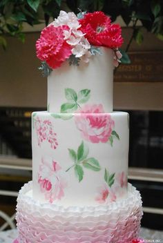 Learn how to make this gorgeous hand-painted rose cake, using cake stencils. An innovative cake decorating technique by Robin Martin of Gateaux Inc.