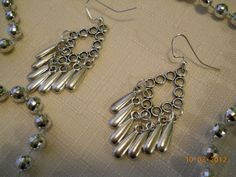 """2""""   Silver Chandelier Earrings with Silver Dangles by maryannsway on etsy"""
