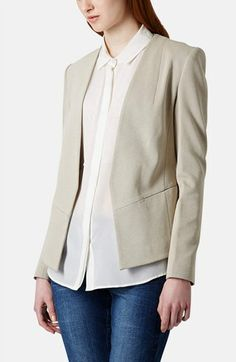 Topshop 'Georgia' Collarless Blazer available at #Nordstrom #Color Nude  Love the lines on this jacket.
