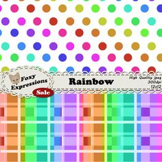 Each digital paper packs (12 sheets) are $1.  See more at www.FoxyExpressions.com Rainbow pack come in all the bright colors of the #rainbow with checkers, polka dots, chevron, plaid, damask, scales, stripes and bubbles. Its great for any occasion or cele... #sale #foxydesign #foxyexpress
