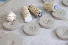 What a clever idea: God bless whoever shared this.DIY button stamp tool tutorial – great for pottery, polymer clay, play dough and plasticineThese would make interesting cookie stampsUse wine corks to create clay stamps.St Brigid's cross on cooki Fimo Clay, Ceramic Clay, Polymer Clay Jewelry, Ceramic Pottery, Clay Beads, Clay Earrings, Clay Stamps, Pottery Tools, Pottery Classes