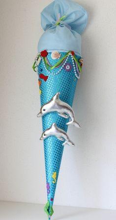 """Schultüte, Zuckertüte, """"Delfine"""""""