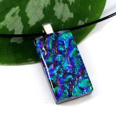 Dichroic Glass Pendant in Emerald Green, Purple and Blue Marbled | ResetarGlassArt - Jewelry on ArtFire