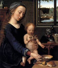 Gerard David  - Madonna and Child with the Milk Soup c. 1520 (and Christ child with cherries) Oil on oak