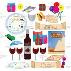 Passover 22 cliparts. Instant download  plate wine bottle