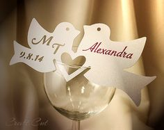 Adorable name place cards for wedding! Blank Two Birds Escort Card *Choose a color and quantity*  145x60mm • 5 3/4 x 2 1/4 inch  Not laser cut - without dark side edges.    You can write