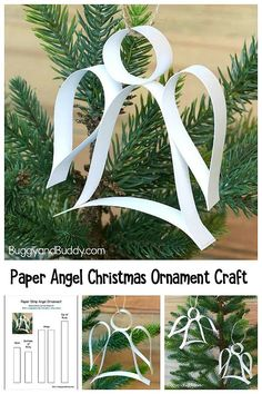 DIY Paper Angel Ornament Craft for Kids with Free Printable Template- Easy homemade holiday ornament with step-by-step directions. Great intro to quilling for children. Christmas Angel Crafts, Christmas Decorations For Kids, Paper Christmas Ornaments, Angel Ornaments, Holiday Crafts, Christmas Diy, Christmas Crafts For Children, Kids Ornament, July Crafts