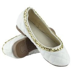 Girls Ballet Flats Quilted Gold Accent Chain Slip On Comfort Shoes White Sz Girls Ballet Flats, Gold Accents, Comfortable Shoes, Slip On, Chain, Fashion, Comfy Shoes, Moda, Fashion Styles