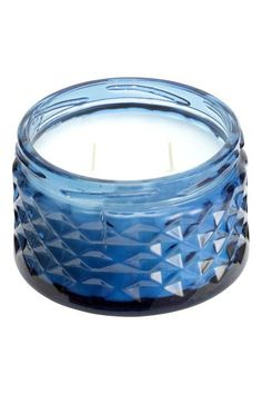 Blue sea/vanilla glass candle
