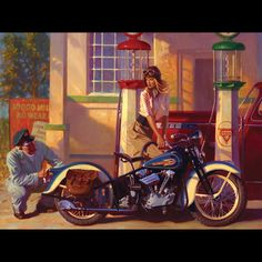 """David Uhl """"Rose""""  The fourth official """"Woman of Harley"""".I painted this piece to illustrate this idea I had about a beautifully strong female swinging into a service station in 1936, bucking the trend of lettingyourattendant do everything for you. She decides to pump her own gas and relegates the attendant to polishing her tail light."""