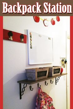 How to make a Backpack Station and keep backpacks and papers organized. Backpack Hooks, Backpack Storage, Diy Backpack, Paper Organization, School Organization, Organizing Ideas, Homemade Crafts, Diy Crafts To Sell, Diy Garden Decor